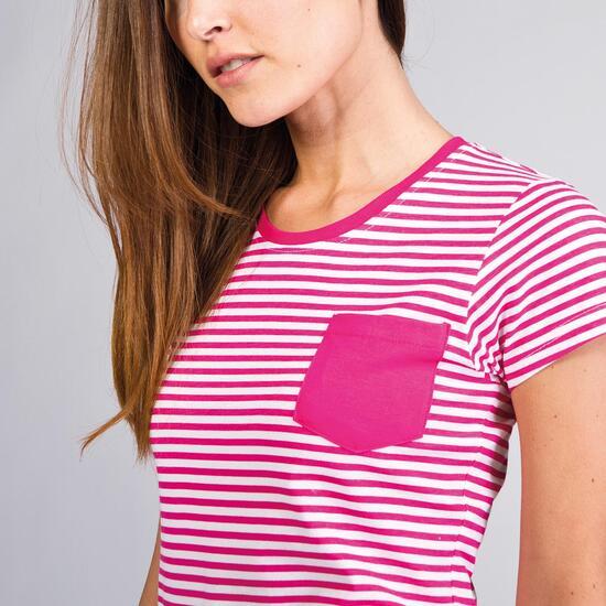Camiseta Rayas UP BASIC Fucsia Mujer