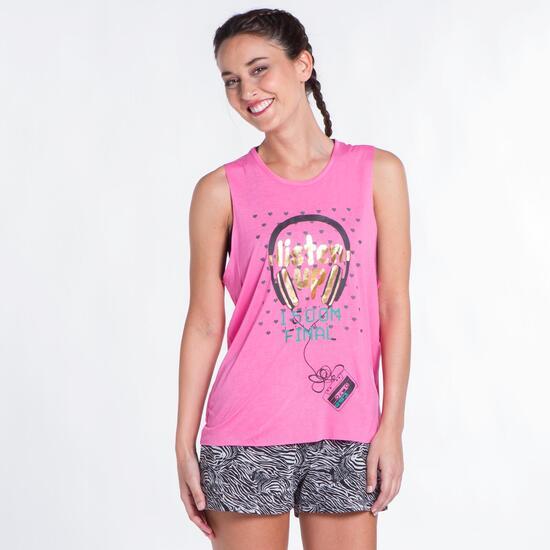 Camiseta Corta UP STAMPS Rosa Mujer