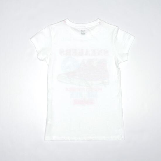 Camiseta Casual UP STAMPS Blanco Niña (10-16)