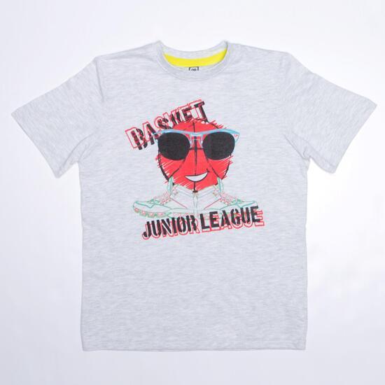 Camiseta Manga Corta UP STAMPS Blanco Niño (10-16)