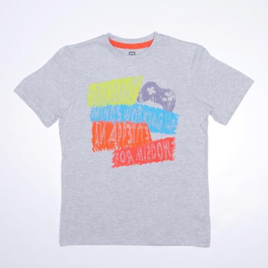 Camiseta Manga Corta UP STAMPS Gris Niño (10-16)