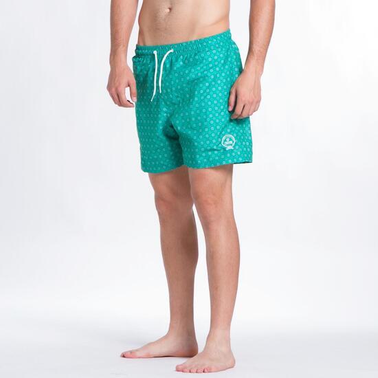 Bañador Corto SILVER Cuadritos Verde Hombre