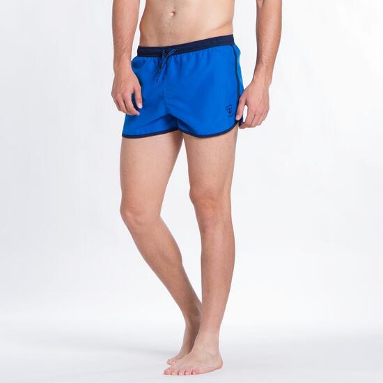 Bañador Corto Curvo SILVER Azul Hombre