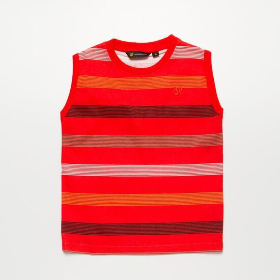 Camiseta Sin Mangas UP BASIC Rayas Rojo Niño (2-8)