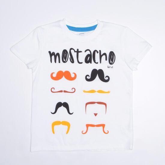Camiseta Bigotes UP Blanca Niño (2-8)