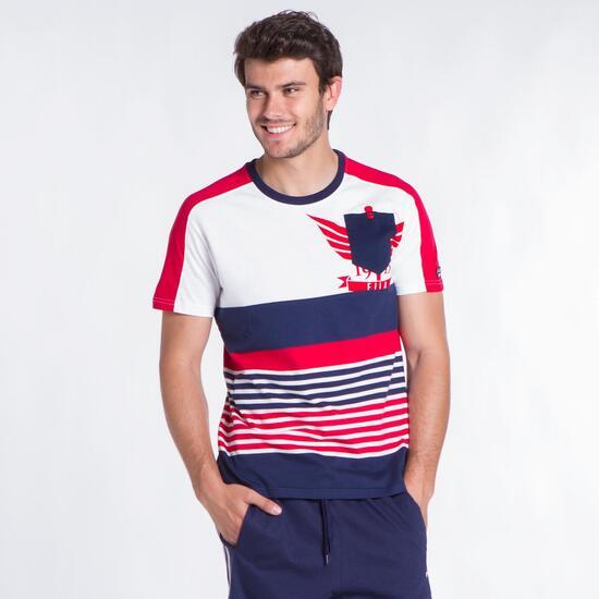 FILA Camiseta Franjas Blanco Marino Hombre