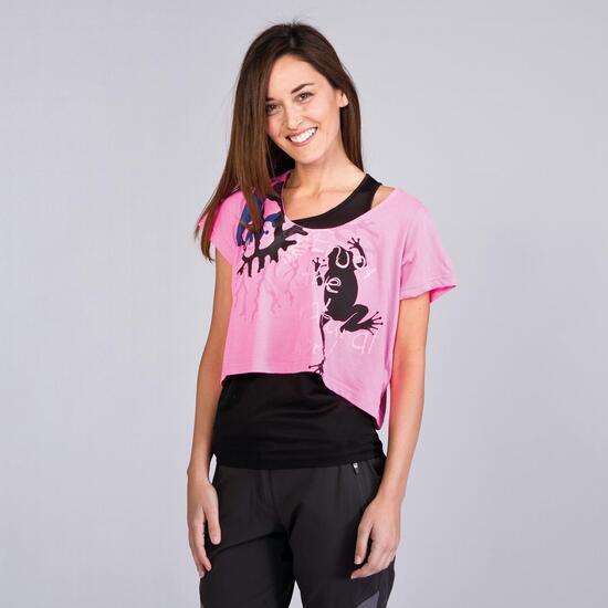 Camiseta Doble BORIKEN Negro Fucsia Mujer