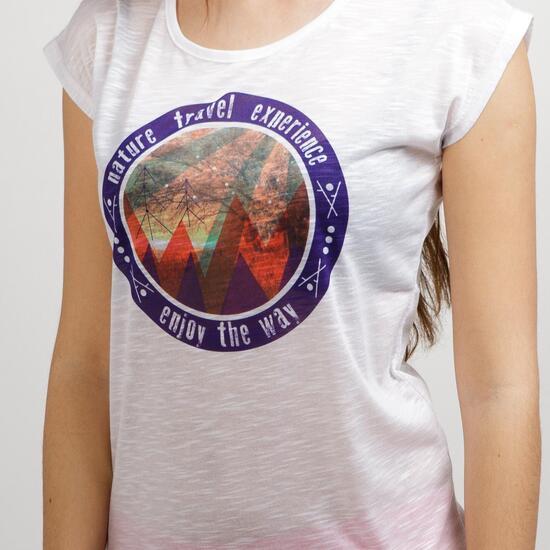 Camiseta Manga Corta SERVAL TRAVEL Blanco Mujer