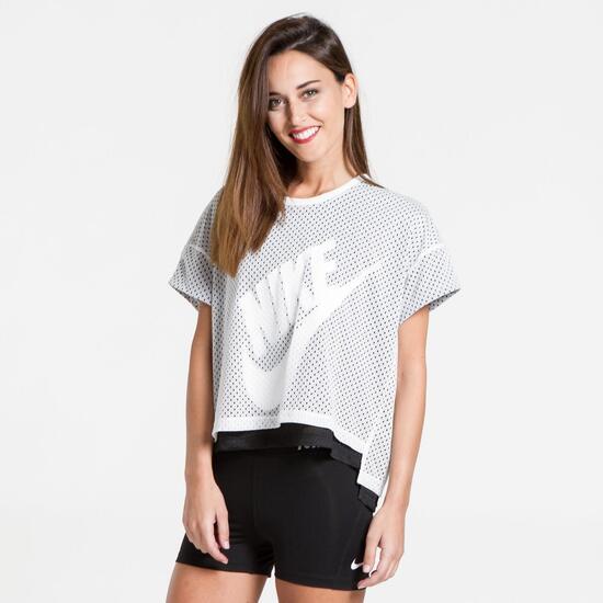 Blanco Sprinter Perforada Camiseta Mujer Nike qv18ZHwnx