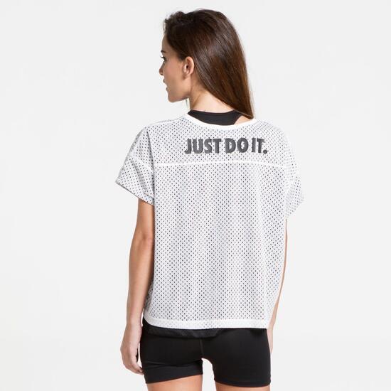 NIKE Camiseta Perforada Blanco Mujer