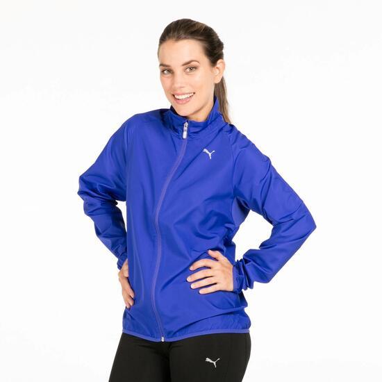 PUMA Cortavientos Running Azul Mujer