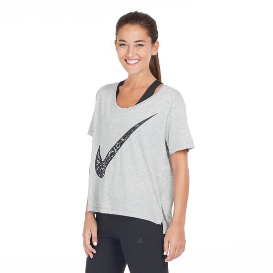 NIKE Camiseta Holgada Gris Mujer