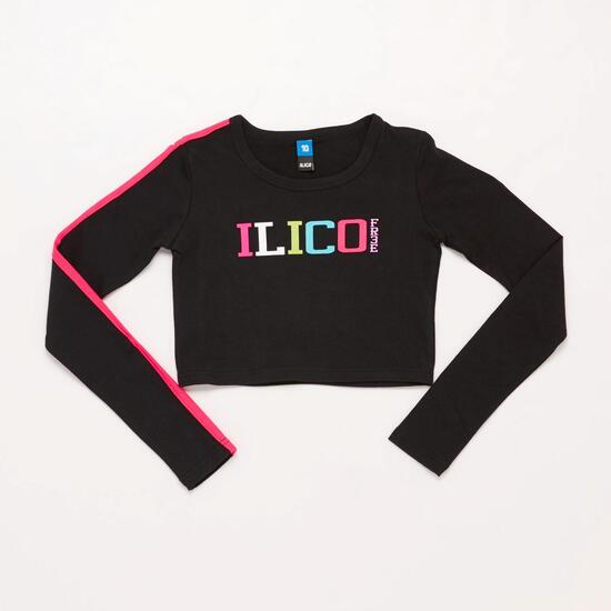 Camiseta Crop Top ILICO Negra Niña (10-16)