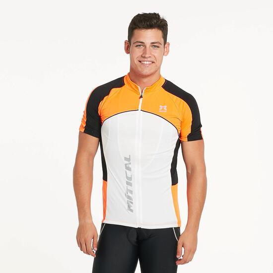 Maillot Ciclismo Manga Corta MÍTICAL PLATA Blanco Naranja Hombre