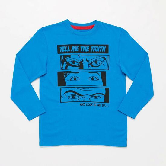 Camiseta Manga Larga UP STAMPS Estampada Azulón Niño (10-16)