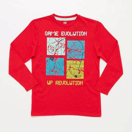 Camiseta Manga Larga UP STAMPS Estampada Rojo Niño (10-16)