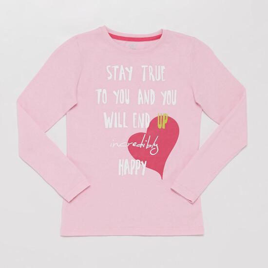 Camiseta Manga Larga UP STAMPS Corazón Rosa Niña (10-16)