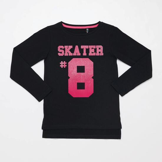 Camiseta Manga Larga SILVER SKATE AND HATE Negra Niña (10-16)