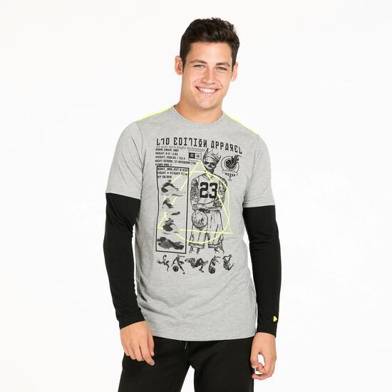 Camiseta Doble Manga SILVER TECH Gris Hombre