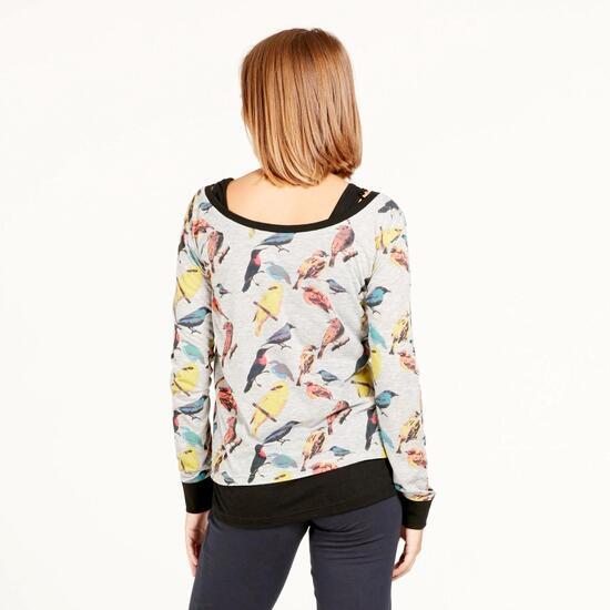 Camiseta Manga Larga SILVER STAMPS Estampado Pájaro Mujer
