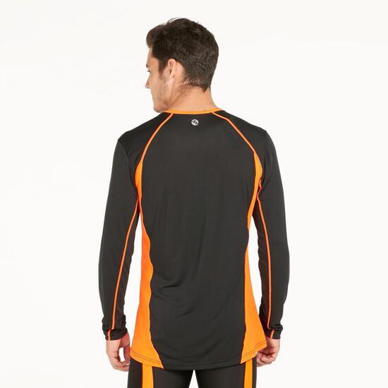 Camiseta Manga Larga Running IPSO COMBI Negro Naranja Hombre