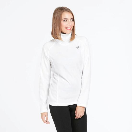 Sudadera Polar Cuello UP BASIC Blanco Mujer