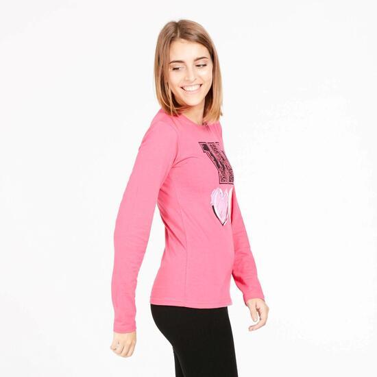 Camiseta Manga Larga UP STAMPS Rosa Mujer