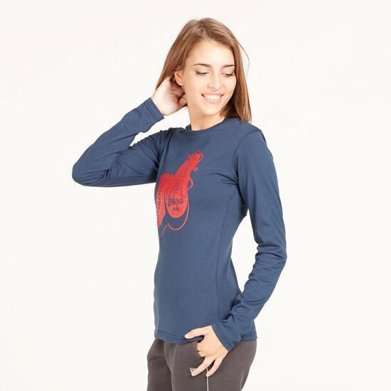 Camiseta Manga Larga UP STAMPS Marino Mujer
