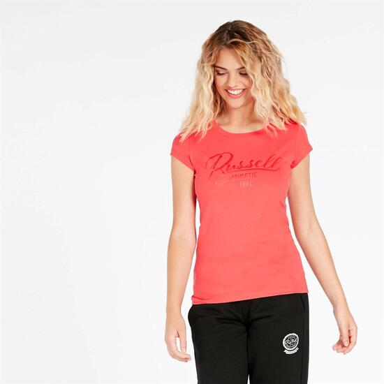 Camiseta Manga Corta RUSSELL ATHLETIC Rojo Coral Mujer