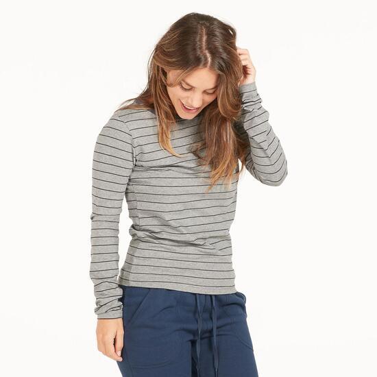 FILA Camiseta Rayas Gris Mujer