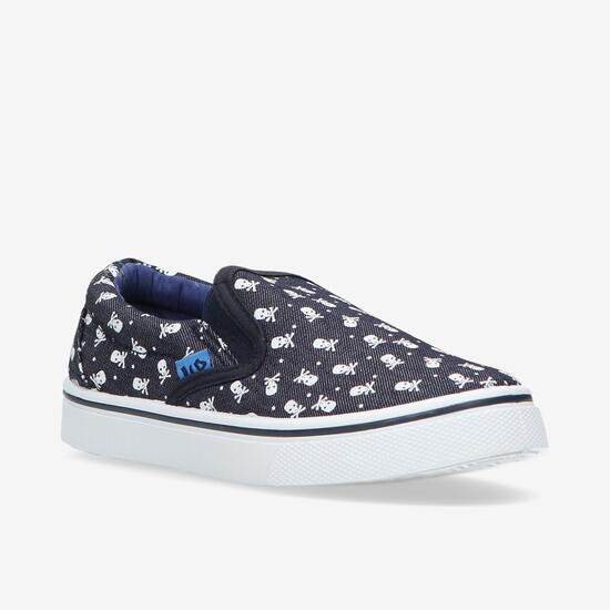 Zapatillas Lona Azul Estampada Niño Up