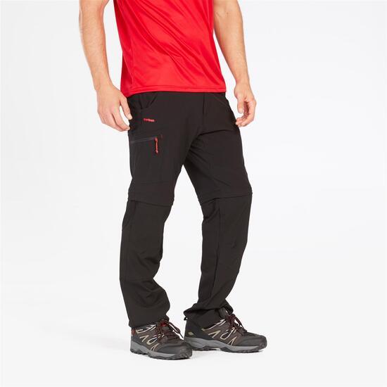 Pantalón Montaña Desmontable Negro Rojo Hombre