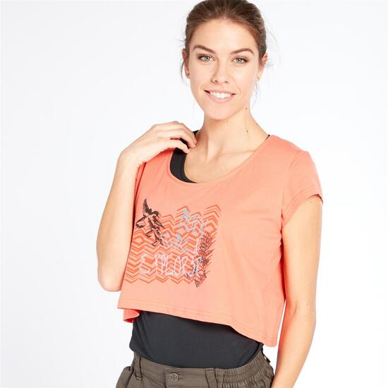 Camiseta Montaña Boriken Negro Coral Mujer