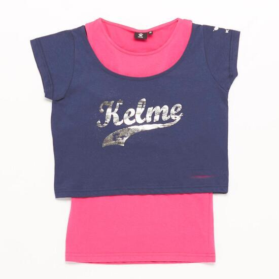 Camiseta Doble KELME Marino Fucsia Niña (10-16)