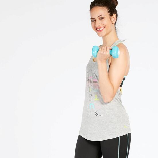 Camiseta Fitness Mujer Gris Fila