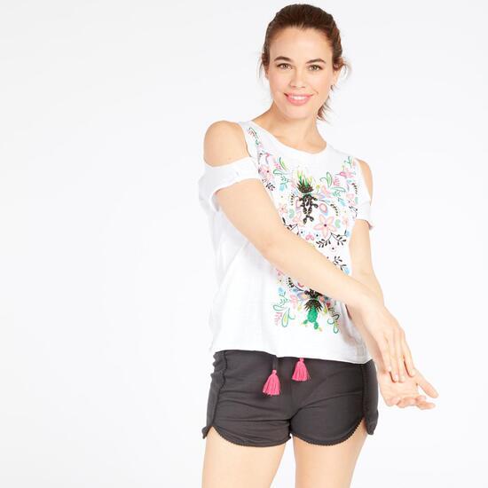 Camiseta Abertura Hombros Blanca Mujer Silver Cactus