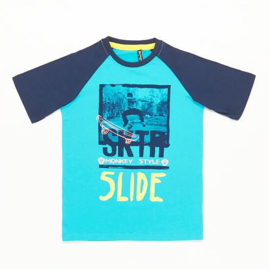 Camiseta Manga Corta Azul Niño Silver