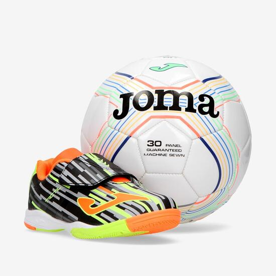 JOMA TACTIL Botas Fútbol Sala Negro Niño (28-35) + Balón