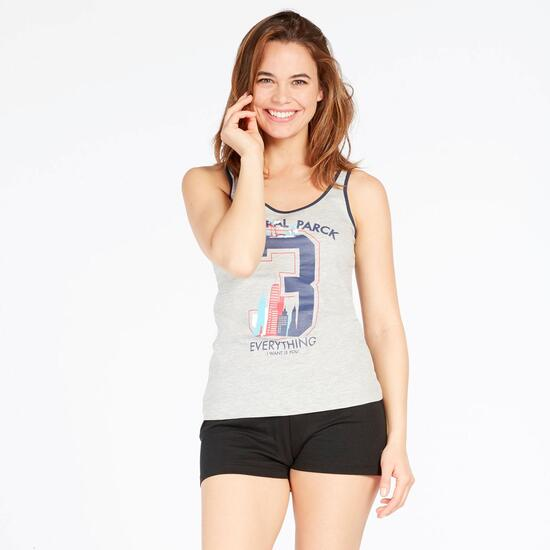 Camiseta Tirantes UP STAMPS Gris Mujer