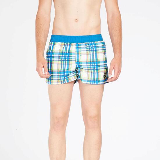 Bañador Corto Azul Multicolor Hombre Silver