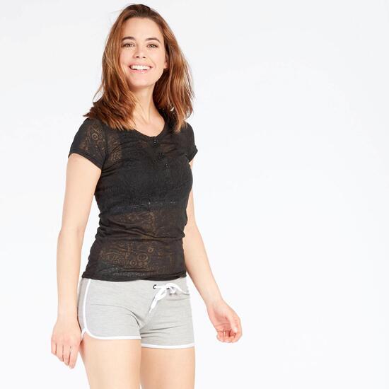 Camiseta Negra Manga Corta TRUNK&ROOTS Mujer