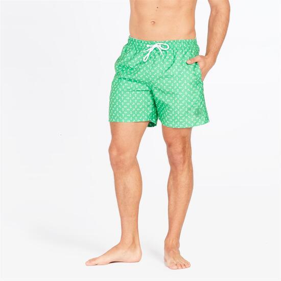 Bañador Verde Estampado Anclas Hombre Silver