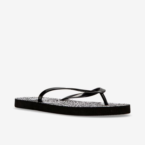 Chanclas Playa Up Estampado Negro Mujer