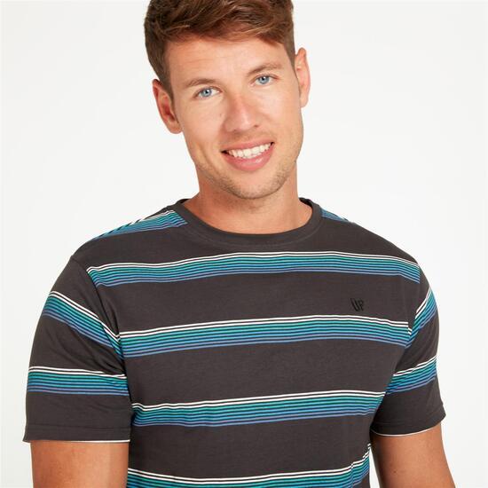 Camiseta Rayas UP Gris Hombre