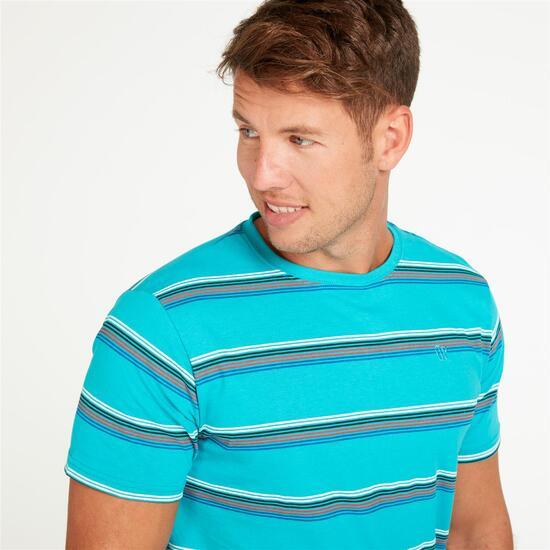 Camiseta Rayas UP Turquesa Hombre