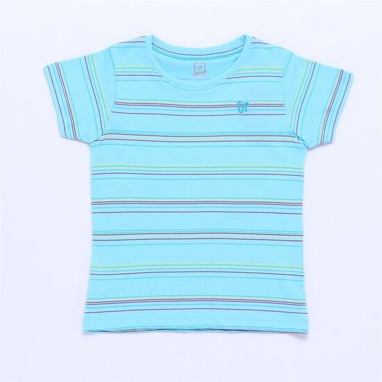 Camiseta UP BASIC Turquesa Rayas Niña (2-8)