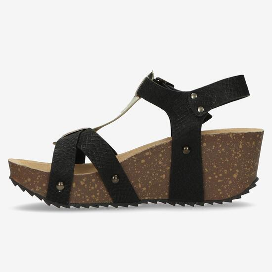 Sandalias Cuña Mujer Nicoboco Negro Dorado