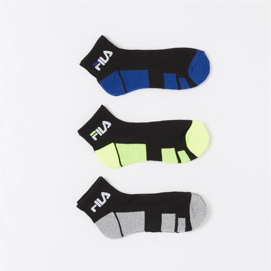 Fila Pack 3 Calcetines Cortos Negro Junior