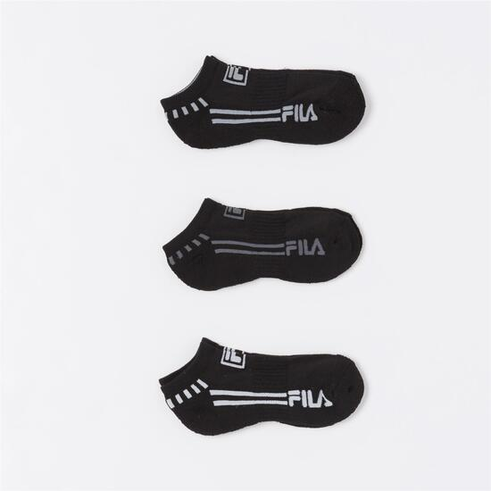 FILA Pack 3 Calcetines Invisibles Negro Niño