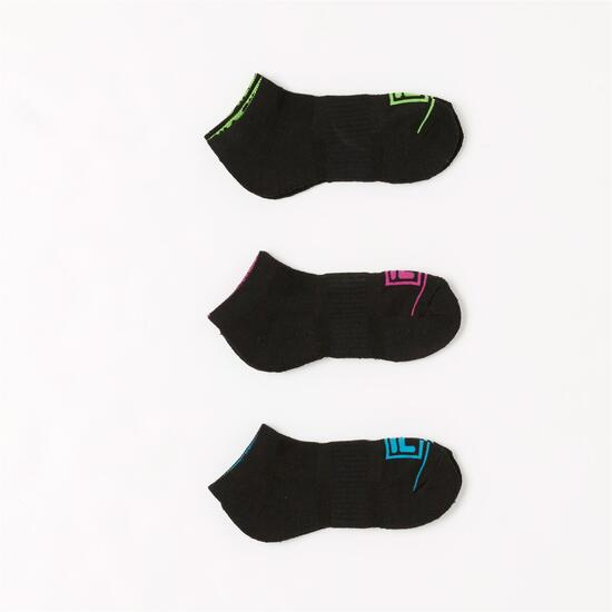 FILA Pack 3 Calcetines Invisibles Negros Negro